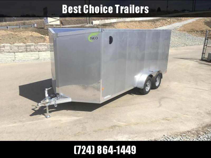 2019 Neo 7x14 NAVF Aluminum Enclosed Cargo Trailer * RAMP DOOR * SILVER * SIDE VENTS