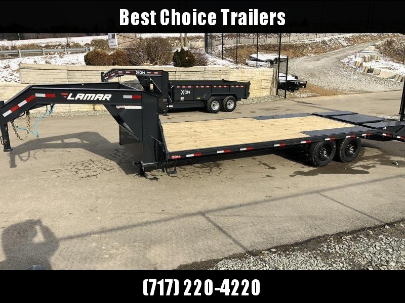 2019 Lamar 102x19+5' Gooseneck Beavertail Deckover Trailer 14000# GVW * FRONT TOOLBOX * DUAL JACKS * CHARCOAL POWDERCOAT * FLIPOVER RAMPS * POP UP DOVETAIL