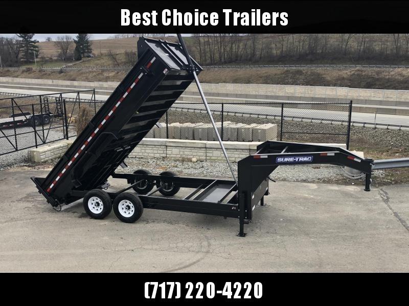 2019 Sure-Trac 7x16' 14000# Low Profile HD GOOSENECK Dump Trailer * TELESCOPIC HOIST