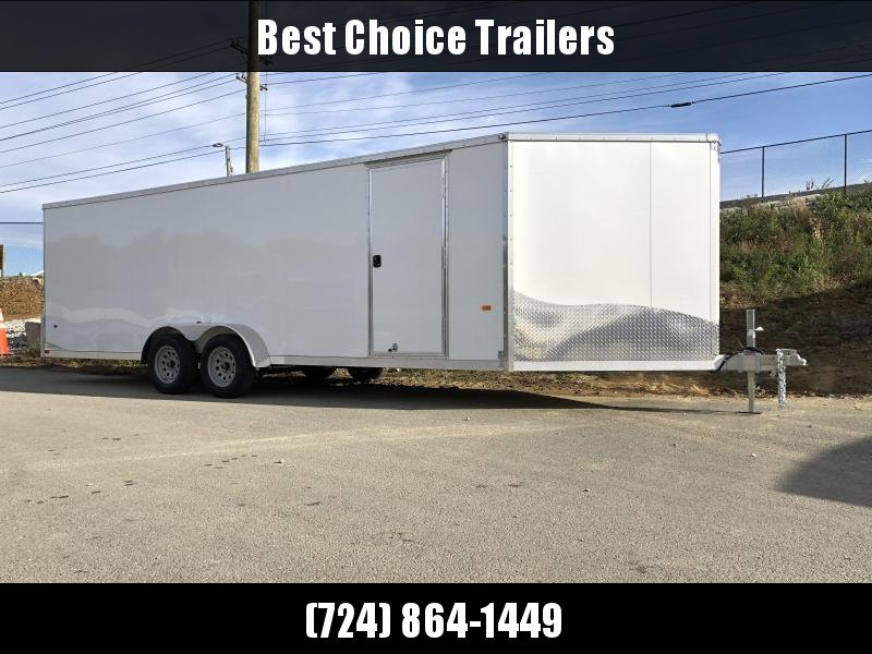 """2019 Neo 7x26' Aluminum Enclosed Snowmobile All-Sport Trailer * 4-PLACE * WHITE * FRONT RAMP * NXP LATCHES * FLOOR TIE DOWN SYSTEM * REAR JACKSTANDS * UPGRADED 16"""" OC FLOOR * UPPER CABINET"""