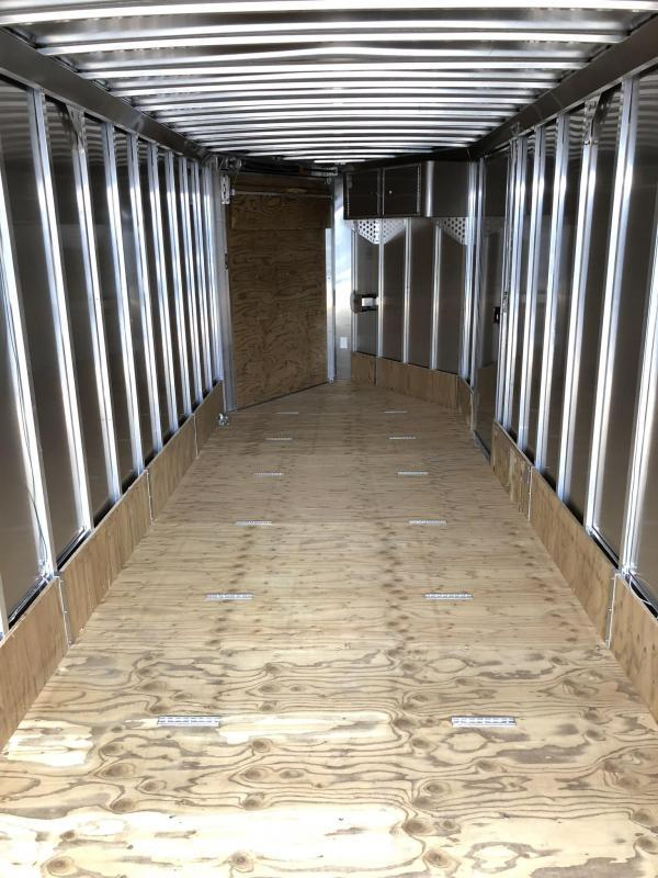 """2019 Neo 7x26' NASF Aluminum Enclosed All-Sport Trailer * WHITE * FRONT RAMP * NXP LATCHES * FLOOR TIE DOWN SYSTEM * REAR JACKSTANDS * UPGRADED 16"""" OC FLOOR * UPPER CABINET * UTV * ATV * Motorcycle * Snowmobile"""
