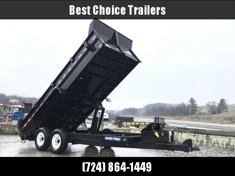 2018 Sure-Trac 7x16' HD LowPro Dump Trailer 16000# GVW * 8000# AXLE UPGRADE * SCISSOR HOIST