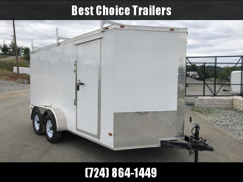 2018 Freedom 7x14' Enclosed Cargo Trailer 7000# GVW * LADDER RACKS * BARN DOORS * WHITE