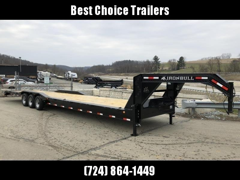 "2019 Ironbull 102x40' Gooseneck Car Hauler Equipment Trailer 21000# * FULL WIDTH RAMPS * 102"" DECK * DRIVE OVER FENDERS * BUGGY HAULER * DUAL JACKS * TOOLBOX"