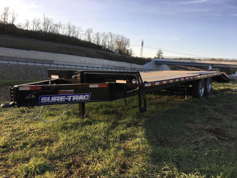 "2019 Sure-Trac 102""x20+5' LowPro Beavertail Deckover Trailer 17600# GVW - PIERCED FRAME * FULL WIDTH RAMPS"