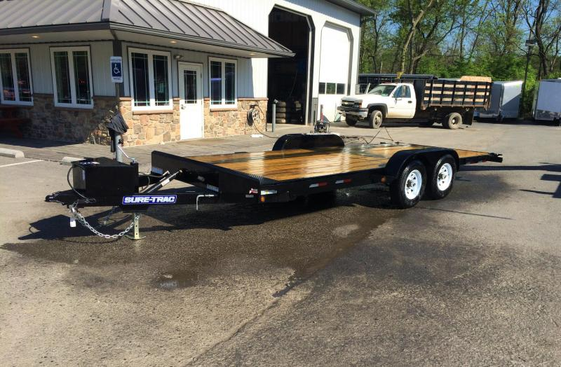 2018 Sure-Trac 7x18 Wood Deck Power Tilt Car Trailer 7000# GVW - ST8220CHWTP-B-070