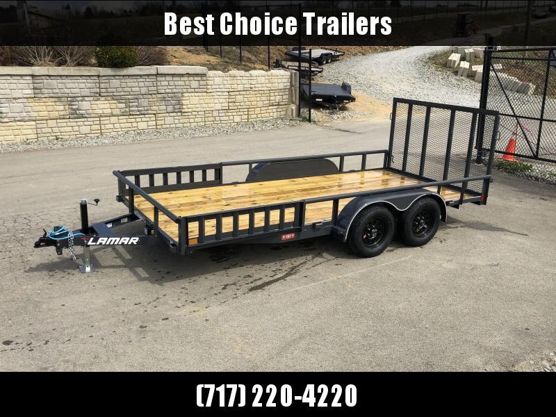 "2019 Lamar 7x16' ATV Utility Trailer 7000# GVW * ATV SIDE RAMPS * 7' WIDTH * CHARCOAL * PIPE TOP RAIL * ADJUSTABLE COUPLER * DROP LEG JACK * 2x2"" TUBE GATE W/ SPRING ASSIST"