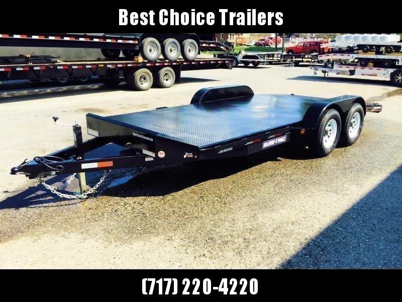 2018 Sure-Trac 7x18 Steel Deck Car Hauler 7000# Race Trailer LOW LOAD ANGLE * CLEARANCE - FREE ALUMINUM WHEELS