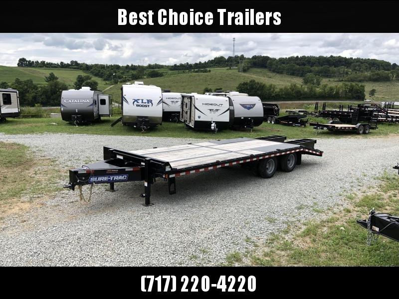 2019 Sure-Trac 102x20+5 22K Pintle Beavertail Deckover Trailer Pierced Frame OAK DECK & RAMPS PAVER TRAILER * HUTCH SUSPENSION * 12 D-RINGS * TOOLBOX * OAK RAMPS/TAIL/DECK * 2ND JACK