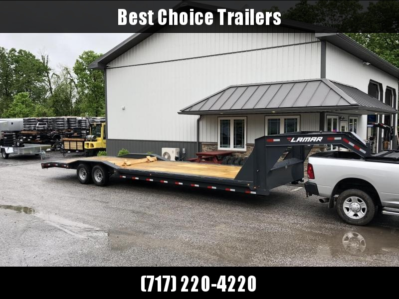 "2018 Lamar 102""x32' Gooseneck Car Trailer 14000# GVW * CHARCOAL * 102"" DECK * DRIVE OVER FENDERS * OVERLENGTH RAMPS * 14-PLY RUBBER"