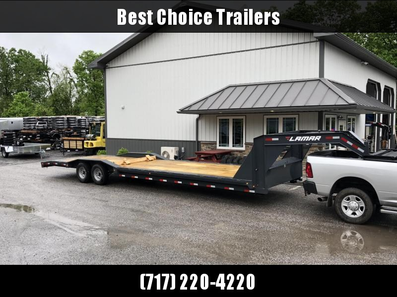 "2018 Lamar 102""x32' Gooseneck Car Trailer 14000# GVW * CHARCOAL * 102"" DECK * DRIVE OVER FENDERS * OVERLENGTH RAMPS * 14-PLY RUBBER * CLEARANCE"