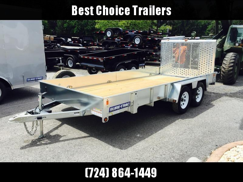 2018 Sure-Trac 7X16' Galvanized High Side Landscape Utility Trailer 7000# * CLEARANCE - FREE ALUMINUM WHEELS