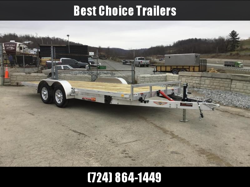 2018 H&H 7x20' Aluminum Manual Tilt Car Trailer 7000# GVW * TOOLBOX * SPARE MT