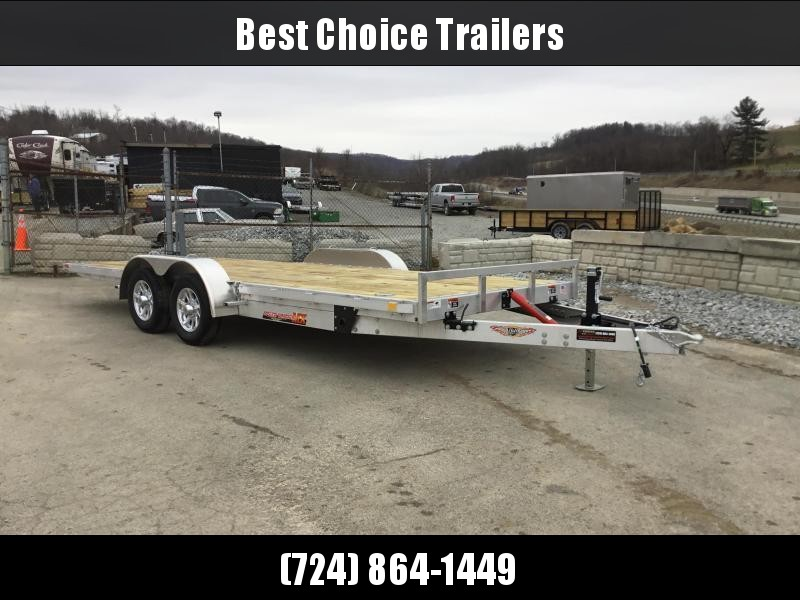 "2018 H&H 7x20' MXA Aluminum Manual Tilt Car Hauler Trailer 7000# GVW * TOOLBOX * SPARE MT * ALUMINUM WHEELS * 6"" FRAME * REMOVABLE FENDERS * CLEARANCE"