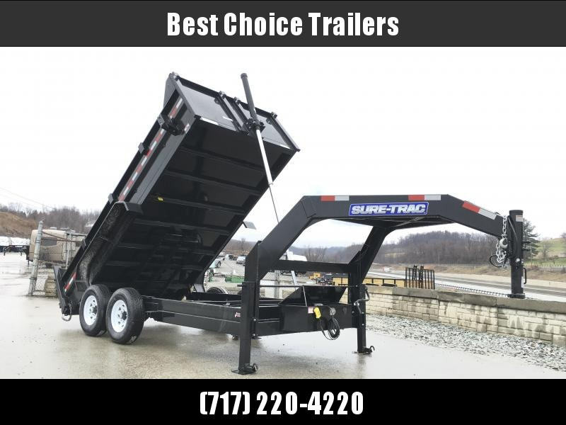 2017 Sure-Trac 7x14' 14000# Low Profile HD GOOSENECK Dump Trailer - TELESCOPIC HOIST * FREE SPARE