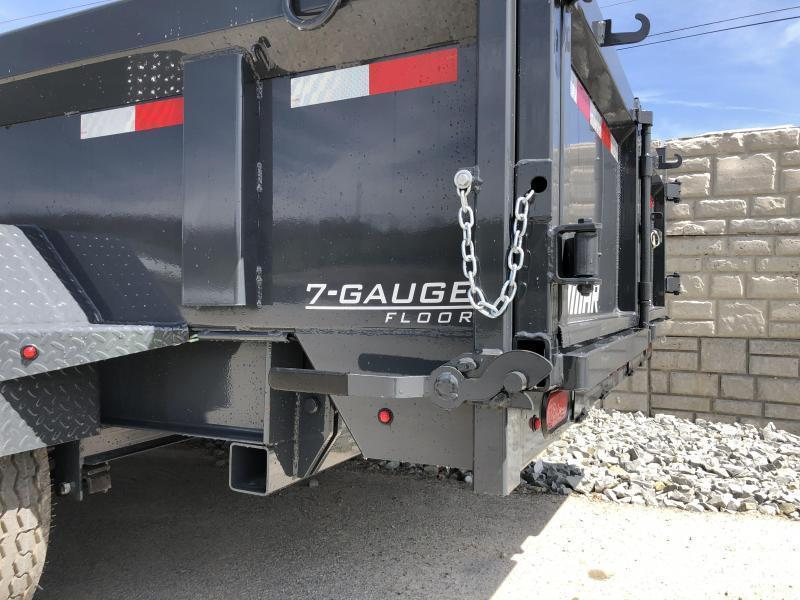 2019 Lamar 7x12' Dump Trailer 14000# GVW - DELUXE * TARP * RAMPS * SPARE MOUNT * 14-PLY TIRE UPGRADE *  12K JACK *  CHARCOAL WITH BLACK WHEELS * REAR SUPPORT STANDS * INTEGRATED VOLTAGE METER * OIL BATH