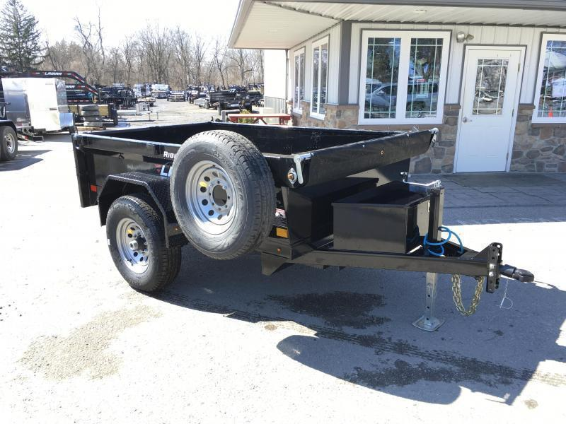 2019 Lamar 5x8' DS60 Dump Trailer 7000# GVW - SINGLE AXLE * RAMPS * CHARCOAL * SPARE MOUNT * CLEARANCE