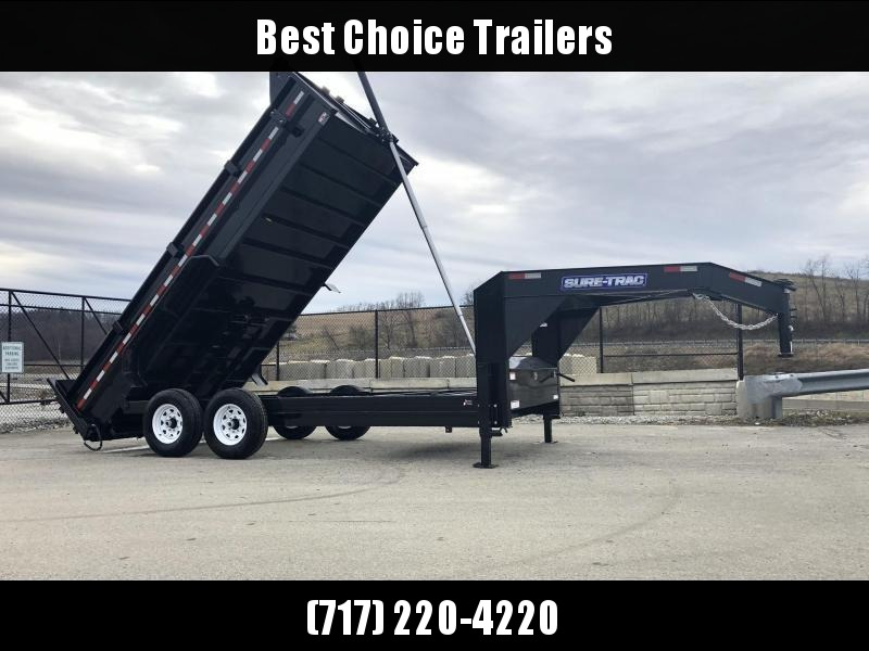 2019 Sure-Trac 7x14' 16000# Low Profile HD GOOSENECK Dump Trailer * TELESCOPIC HOIST * 8000# AXLE UPGRADE
