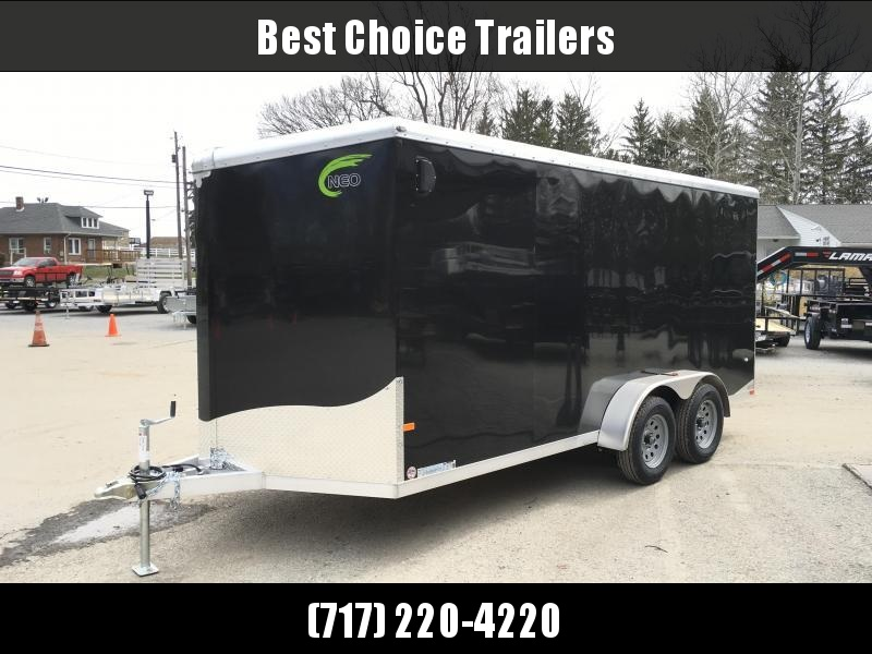 "2019 Neo 7x16 NAVR Aluminum Enclosed Cargo Trailer * RAMP DOOR * BLACK * 6'6"" HEIGHT * PRO STAB JACKS * 16"" O.C. FLOOR"
