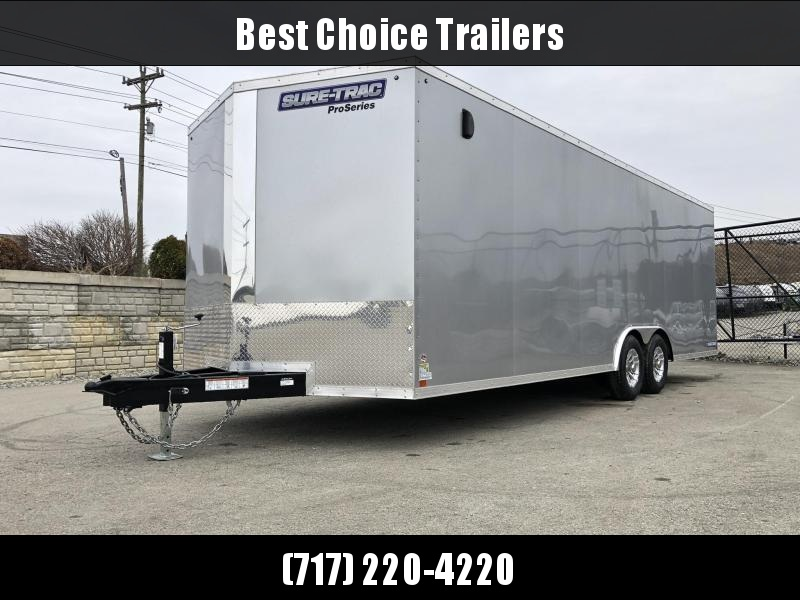 2019 Sure-Trac 8.5x24' 9900# STWCH Commercial Enclosed Cargo Trailer * V-NOSE * RAMP DOOR * SILVER * ALUMINUM WHEELS * 7000# DROP LEG JACK