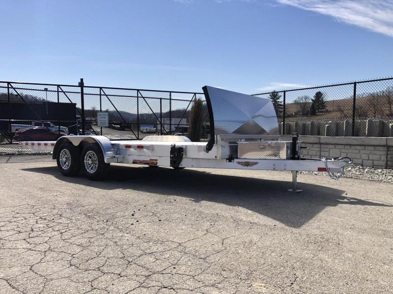 2019 H&H 7x20' Aluminum Power Tilt Car Trailer 9990# GVW * DELUXE * TORSION * ROCK GUARD * DUAL TOOLBOXES * EXTRUDED FLOOR *  4 SWIVEL D-RINGS * 4 EXTRA STAKE POCKETS * WIRELESS REMOTE * SPARE & SPARE MT * WINCH PLATE