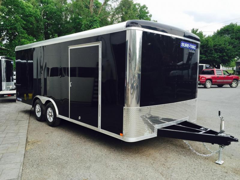 2018 Sure-Trac 8.5x20' 9900# STRCH Commercial Enclosed Car Hauler * ROUND TOP * BLACK * SCREWLESS EXTERIOR