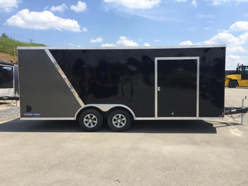 2017 Sure-Trac 8.5x20' 9900# STWCH Commercial Enclosed Cargo Trailer RAMP DOOR BLACK/PEWTER ALUMINUM WHEELS TORSION ESCAPE HATCH FINISHED FLOOR AND WALLS 2-TONE