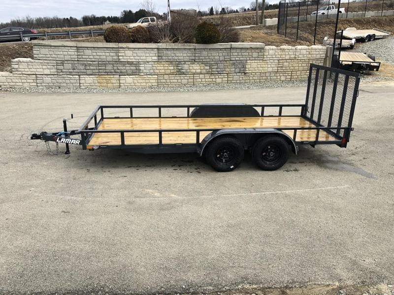"2019 Lamar 77""x14' Utility Landscape Trailer 7000# GVW * CHARCOAL * HD GATE W/ SPRING ASSIST"