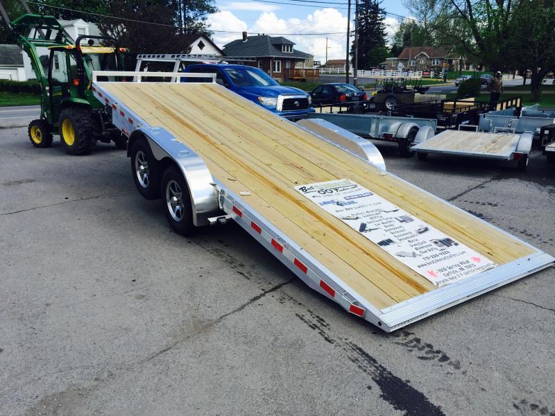 2018 H&H 7x18' 7000# Aluminum Power Tilt Car Hauler * POWER TILT * EXTRA STAKE POCKETS * PUMP PLATE * CLEARANCE