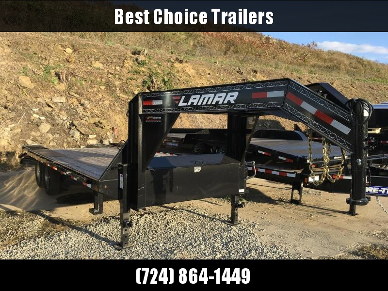 "2017 Lamar Trailers 102""x18+4' Deluxe Gooseneck Deckover Trailer 14000# GVW **  FREE ALUMINUM WHEELS"