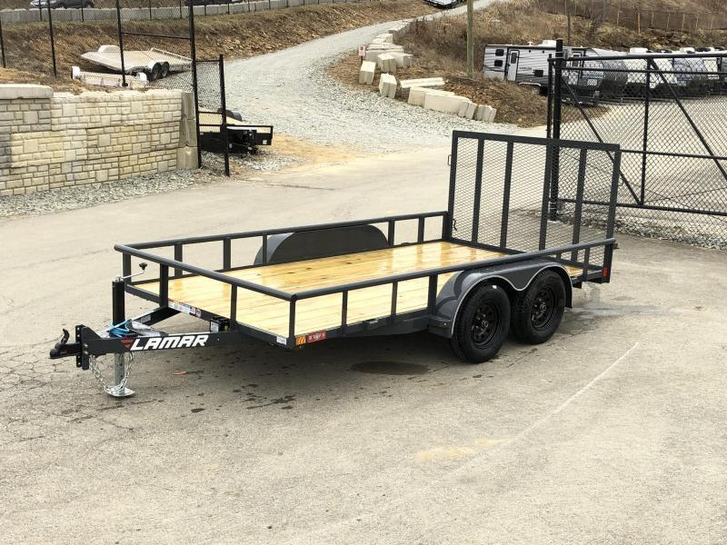 2019 Lamar 7x14' Utility Trailer 7000# GVW DELUXE * PIPE TOP * TUBE GATE * DROP LEG JACK * ADJUSTABLE COUPLER * CHARCOAL W BLACK WHEELS * SPRING ASSIST * FOLD IN GATE