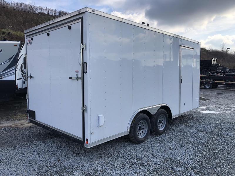2019 Rock Solid 8x16' Enclosed Car Hauler Trailer 7000# GVW RS816TA * WHITE * ATP FENDERS * V-NOSE * RAMP DOOR