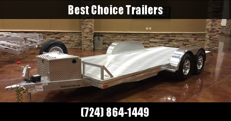 2018 Sundowner 7x18' All Aluminum Car Hauler Trailer 9200# GVW 4000AP18 * 4000# AXLES * POLISHED * EXTRUDED * TORSION * TOOLBOX