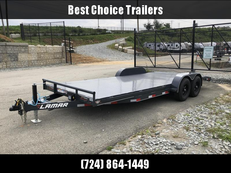 2019 Lamar 7X20' CC10 Car Trailer 9990# GVW RUBRAIL * REMOVABLE FENDERS  * CHARCOAL POWDERCOATING * 7K DROP LEG JACK * STEEL DECK