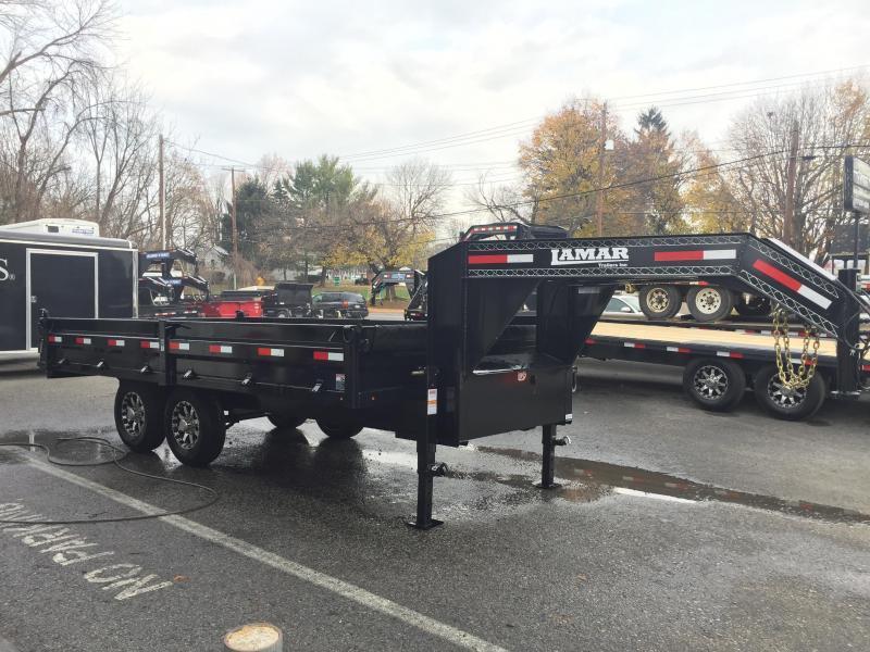 2018 Lamar 8x16' Gooseneck Deckover Dump Trailer 14000# GVW - FOLD DOWN SIDES * TARP KIT * SCISSOR * 7 GAUGE FLOOR * RAMPS