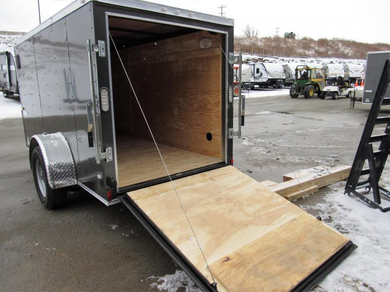 2019 Rock Solid Cargo 5x10 Single Axle Enclosed Cargo Trailer * CHARCOAL * V-NOSE * RAMP DOOR
