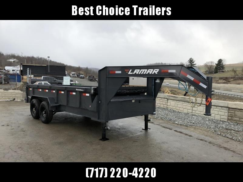2019 Lamar 7x14' Gooseneck Dump Trailer 14000# GVW * TARP KIT * SCISSOR * RAMPS * CHARCOAL * VOLT METER * 14-PLY RUBBER * SPARE TIRE * REAR SUPPORT STANDS