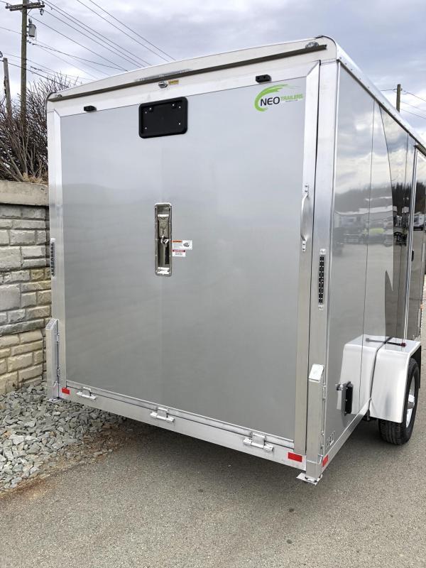 "2019 Neo 7x12 NAMR Aluminum Enclosed Motorcycle Trailer SINGLE AXLE 2990# GVW * INDIGO & SILVER * VINYL WALLS * ALUMINUM WHEELS * +12"" HEIGHT UTV SPORTS PACKAGE"