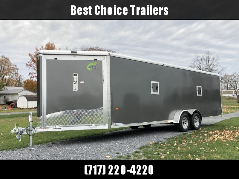 2019 Neo 7x28' Aluminum Enclosed Snowmobile All-Sport Trailer * LOADED MODEL * 4-PLACE * CHARCOAL