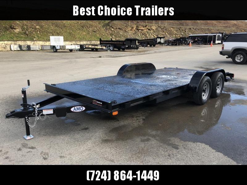 2018 AMO 7x16' Steel Deck Car Trailer 7000# GVW * CLEARANCE - FREE ALUMINUM WHEELS