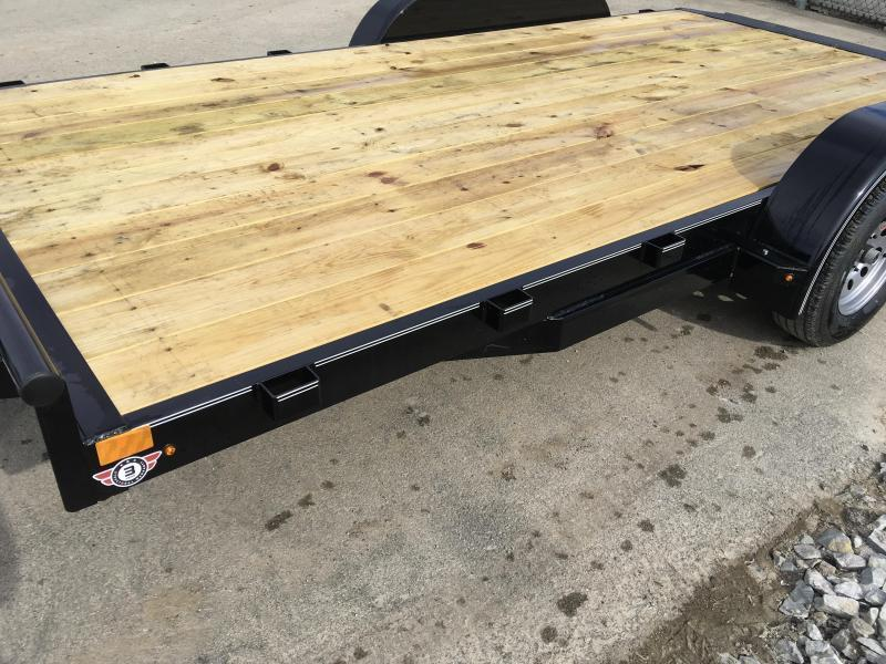 2018 Lamar 7x16 7000# Wood Deck Car Hauler Trailer * REMOVABLE FENDERS * EXTRA STAKE POCKETS * CHARCOAL * CLEARANCE - FREE SPARE TIRE