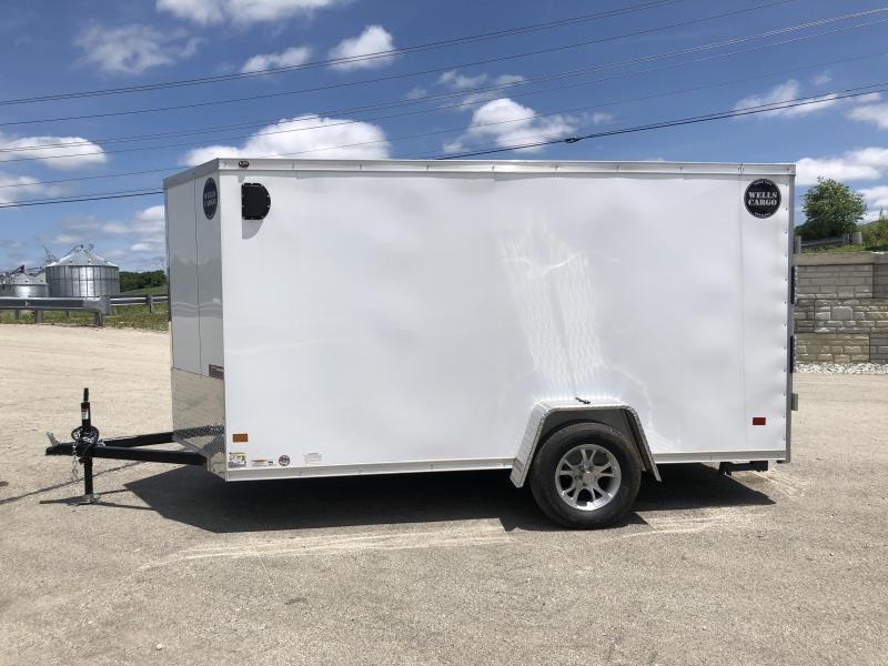 2018 Wells Cargo 6x12' VG500 Enclosed Cargo Trailer 2990# GVW * WHITE * RAMP DOOR * CLEARANCE