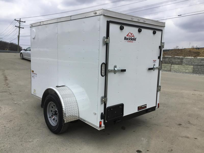 2018 Rock Solid 5x8' Enclosed Cargo Trailer 2990# GVW * WHITE