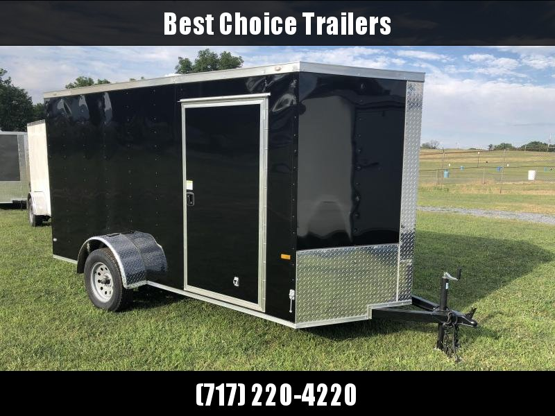 2019 Rock Solid 6x12' Enclosed Cargo Trailer 2990# GVW * BLACK * RAMP * VNOSE