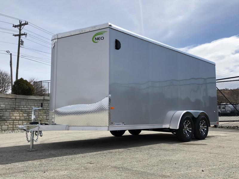 "2020 Neo 7x16 NAVR Aluminum Enclosed Cargo Trailer * RAMP DOOR * ALUMINUM WHEELS * 16"" O.C. FLOOR * PLASTIC VENTS * PRO STAB JACKS"