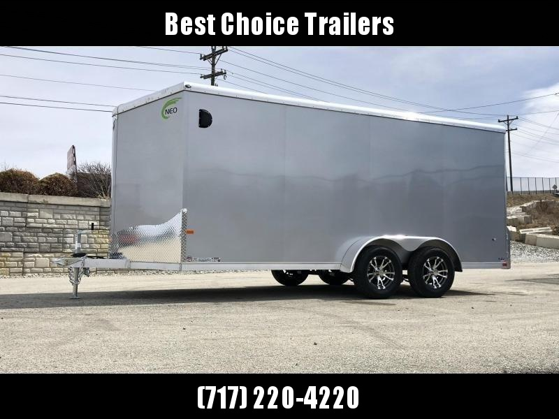 "2020 Neo 7x16 NAVR Aluminum Enclosed Cargo Trailer * RAMP DOOR * ALUMINUM WHEELS * 16"" O.C. FLOOR * PLASTIC VENTS * PRO STAB JACKS"