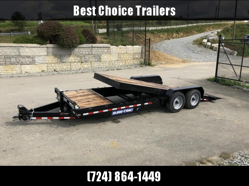 2019 Sure Trac Gravity Tilt Equipment Trailer 7'X18+4' 16000# OAK DECKING