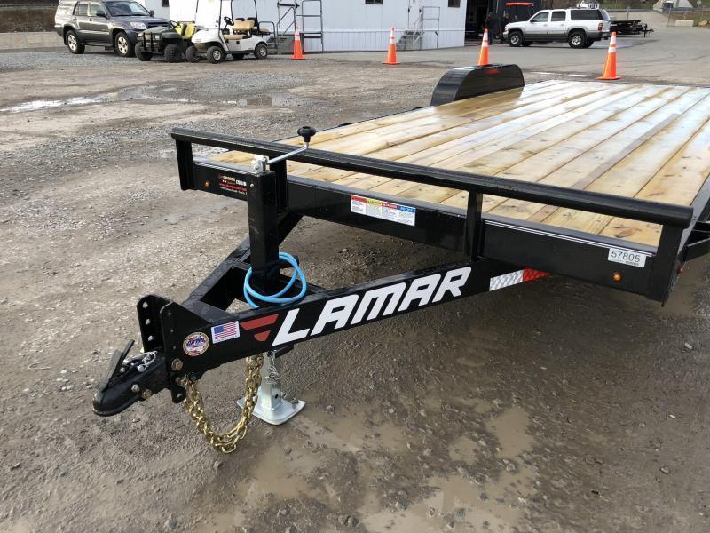 2019 Lamar 7X20' CC10 Car Trailer 9990# GVW RUBRAIL * REMOVABLE FENDERS  * CHARCOAL POWDERCOATING * 7K DROP LEG JACK * CLEARANCE - FREE ALUMINUM WHEELS