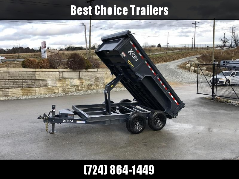 "2019 X-on 7x12' Low Profile Dump Trailer 14000# GVW * 7 GA FLOOR * TARP KIT * SCISSOR * 3 WAY GATE * 6"" 12# I-BEAM TONGUE & FRAME * 12K JACK"