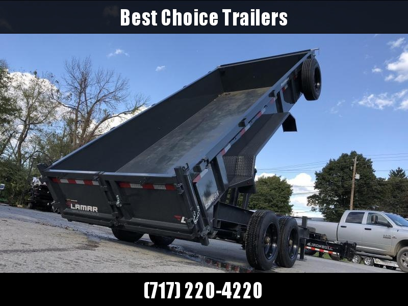 "2019 Lamar 7x16' Dump Trailer 16000# GVW * 8K AXLE UPGRADE * TARP * RAMPS * DUAL 12K JACKS * 17.5"" RUBBER * SPARE * REAR SUPPORT STANDS * OIL BATH * CHARCOAL"